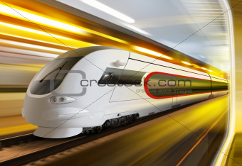 super streamlined train in tunnel