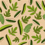 Seamless texture with leaves.