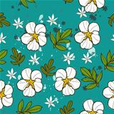 Seamless texture with white flower.