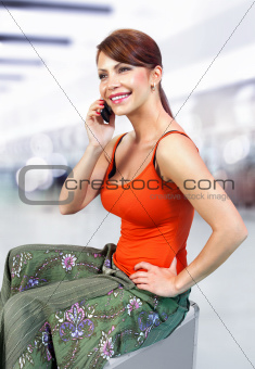 girl speaks on telephone l
