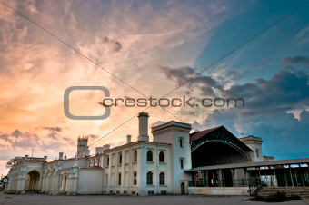 Old railway station with beautiful cloudscape