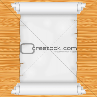 Scroll on wooden background