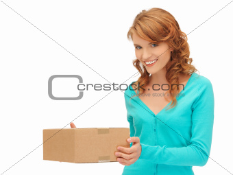 teenage girl with cardboard box