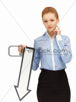 woman with direction arrow sign