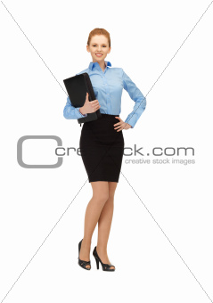 happy woman with folder