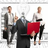 Lamp Head Man And Business Team