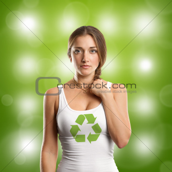 Woman With Recycling Symbol Looking on Camera