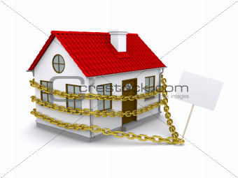 House with a sign enmeshed gold chain