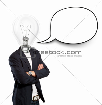 Lamp Head Businessman With Speech Bubble