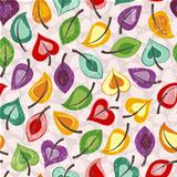 Seamless multicolor pattern of colored autumn leaves