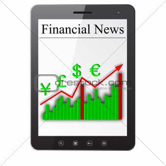 Financial News on Tablet PC. Isolated on white. Vector  illustration