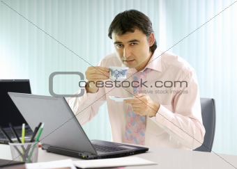 businessman has a coffee break