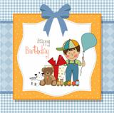 birthday greeting card with little boy and presents
