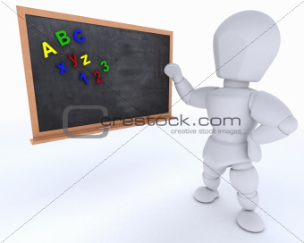 man with school chalk board back to school