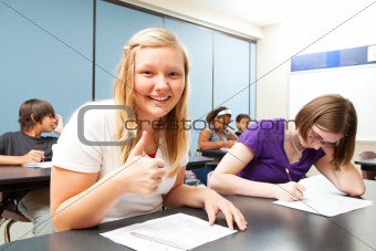 Blond Girl Aces Test in School
