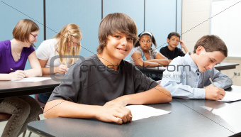 School Kids in Class - Wide Banner
