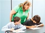 Teacher Supervises Testing