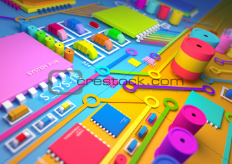 Colourful circuit board