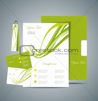 Corporate Identity Template Vector with green background
