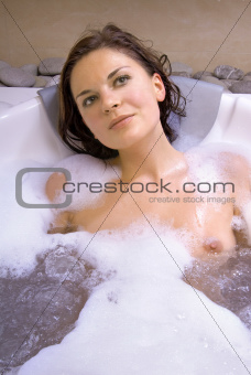 beautiful woman in jacuzzi