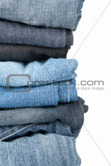 Stack of jeans closeup