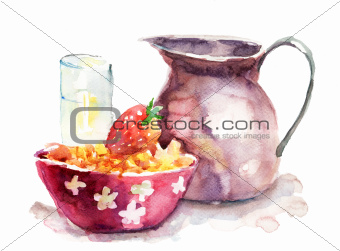 Watercolor illustration of breakfast