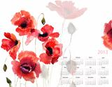 Template for calendar 2013 with poppy flowers