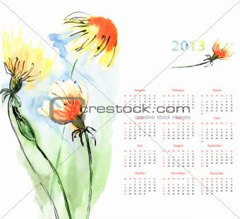 Calendar with Dandelion