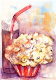 Popcorn with glass of soda drink