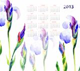 Calendar with Iris flowers 