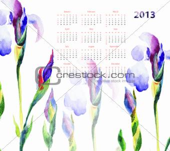 Calendar with Iris flowers
