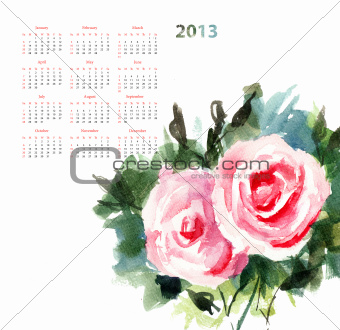 Calendar for 2013 with Roses