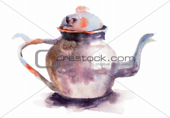 Watercolor illustration of Teapot
