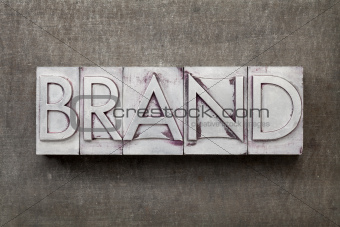 brand word in metal type