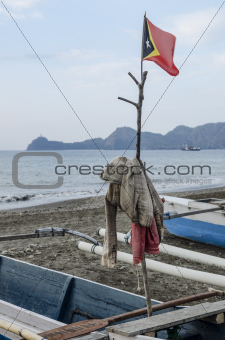 east timor flag in fishing boat