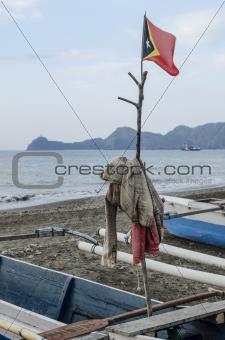 east timor flag in fishing boat