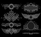 set of ornamental heraldic elements