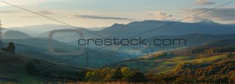 Autumn evening mountain panorama (Carpathian, Ukraine).