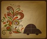 vector eco  concept composition with a car and floral exhaust