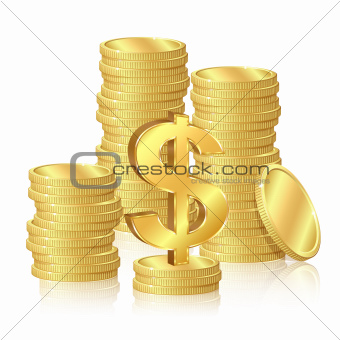 Stacks of gold coins and dollar signs
