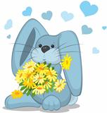 Blue rabbit  with daisy flowers vector illustration on white.