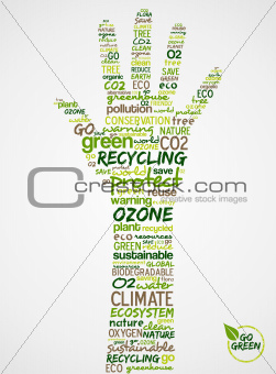 Go Green. Hand with words cloud about environmental conservation