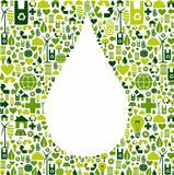 Water drop symbol with eco friendly icon
