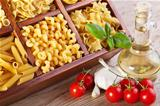 Pasta assortment and seasoning ingredients