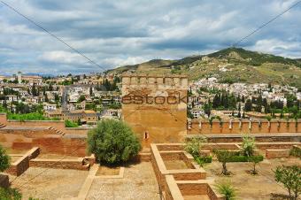 Albaicin and Sacromonte from La Alhambra in Granada, Spain