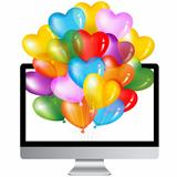 Computer With Colorful Balloons