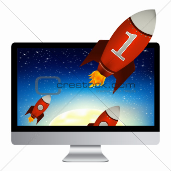Computer With Red Rockets