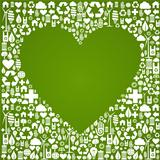 Ecology love concept icons background
