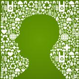 Human head shape over eco icons background