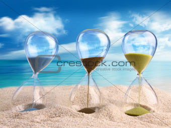 Three hourglass in the sand